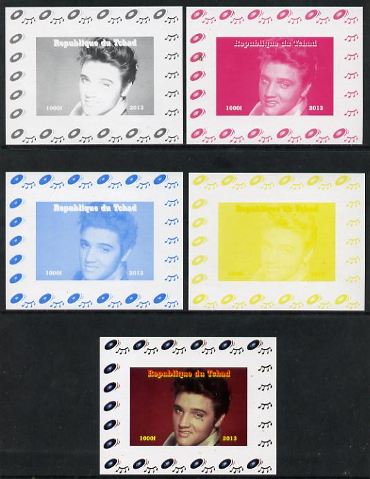 Chad 2013 Elvis Presley #06 individual deluxe sheetlet - the set of 5 imperf progressive colour proofs comprising the 4 basic colours plus all 4-colour composite unmounted mint