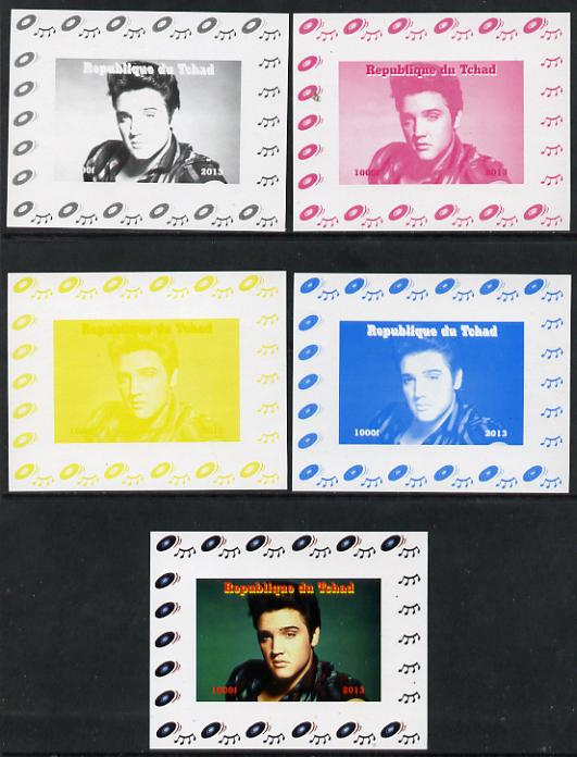 Chad 2013 Elvis Presley #07 individual deluxe sheetlet - the set of 5 imperf progressive colour proofs comprising the 4 basic colours plus all 4-colour composite unmounted mint