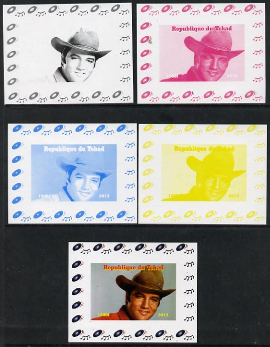 Chad 2013 Elvis Presley #09 individual deluxe sheetlet - the set of 5 imperf progressive colour proofs comprising the 4 basic colours plus all 4-colour composite unmounted mint