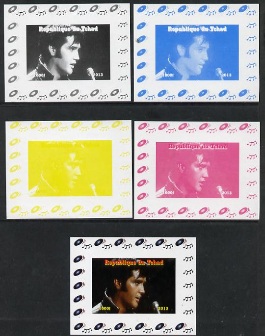 Chad 2013 Elvis Presley #11 individual deluxe sheetlet - the set of 5 imperf progressive colour proofs comprising the 4 basic colours plus all 4-colour composite unmounted mint