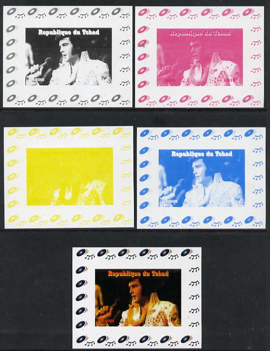 Chad 2013 Elvis Presley #12 individual deluxe sheetlet - the set of 5 imperf progressive colour proofs comprising the 4 basic colours plus all 4-colour composite unmounted mint