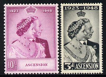 Ascension 1948 KG6 Royal Silver Wedding set of 2 unmounted mint SG 50-51