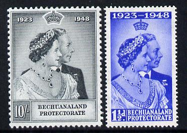 Bechuanaland 1948 KG6 Royal Silver Wedding perf set of 2 mounted mint, SG 136-37