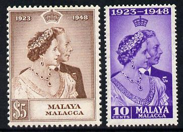 Malaya - Malacca 1948 KG6 Royal Silver Wedding perf set of 2 unmounted mint, SG 1-2
