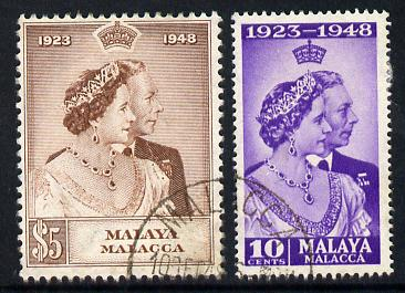 Malaya - Malacca 1948 KG6 Royal Silver Wedding perf set of 2 cds used, SG 1-2