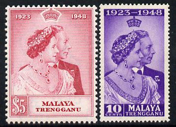 Malaya - Trengganu 1948 KG6 Royal Silver Wedding perf set of 2 unmounted mint SG 61-62