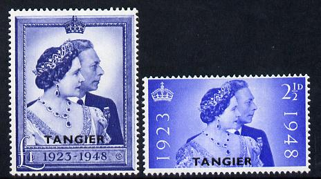 Morocco Agencies - Tangier 1948 KG6 Royal Silver Wedding perf set of 2 mounted mint, SG 255-6