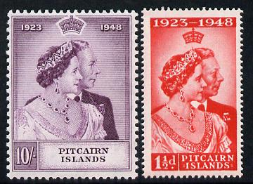 Pitcairn Islands 1949 KG6 Royal Silver Wedding perf set of 2 unmounted mint, SG 11-12