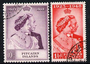 Pitcairn Islands 1949 KG6 Royal Silver Wedding perf set of 2 cds used, SG 11-12