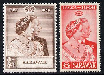 Sarawak 1948 KG6 Royal Silver Wedding set of 2 unmounted mint SG165-6