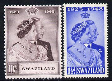Swaziland 1948 KG6 Royal Silver Wedding perf set of 2 unmounted mint, SG 46-7