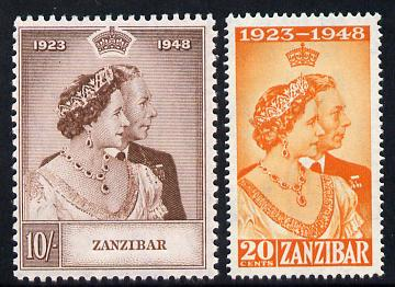 Zanzibar 1949 KG6 Royal Silver Wedding perf set of 2 unmounted mint, SG 333-34