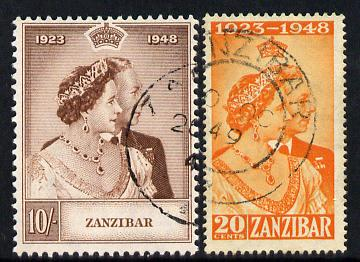 Zanzibar 1949 KG6 Royal Silver Wedding perf set of 2 cds used SG 333-34