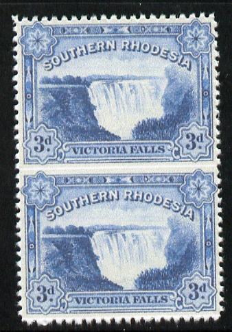 Southern Rhodesia 1932 KG5 Victoria Falls 3d deep ultramarine vertical pair imperf between