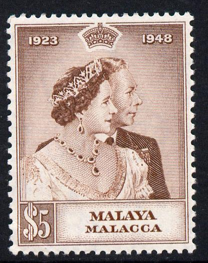 Malaya - Malacca 1948 KG6 Royal Silver Wedding $5 mounted mint but corner crease SG2