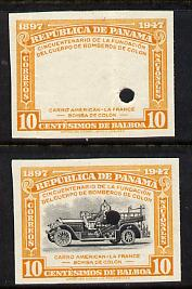 Panama 1948 50th Anniversary of Fire Brigade 10c Fire Engine imperf proofs of frame only plus composite both in issued colours and each with security punch holes, ex Waterlow & Sons single archive sheet, minor creasing, unmounted mint and extremely rare as SG 474