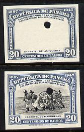 Panama 1948 50th Anniversary of Fire Brigade 20c Fire Hose imperf proofs of frame only plus composite both in issued colours and each with security punch holes, ex Waterlow & Sons single archive sheet, minor creasing, unmounted mint and extremely rare as SG 475