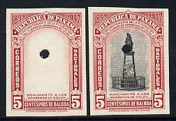 Panama 1948 50th Anniversary of Fire Brigade 5c Fireman's Monument imperf proofs of frame only plus composite both in issued colours and each with security punch holes, ex Waterlow & Sons single archive sheet, unmounted mint and extremely rare as SG 473