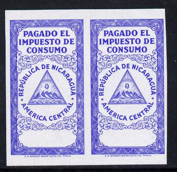 Nicaragua Pagado el Impuesto de Consumo imperf proof pair of frame only in blue on ungummed paper