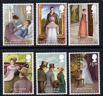 Great Britain 2013 Jane Austin set of 6 unmounted mint