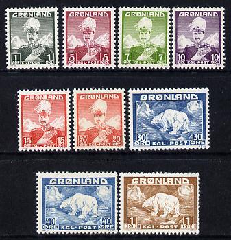 Greenland 1938-46 Christian & Polar Bear set of 9 mounted mint, SG 1-7