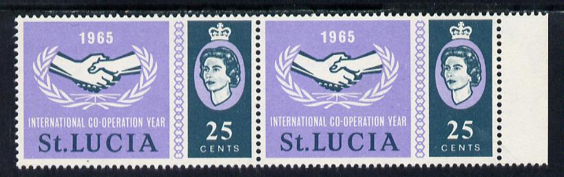 St Lucia 1965 International Co-operation Year 25c horiz pair, one stamp with 'Broken Leaves' variety unmounted mint