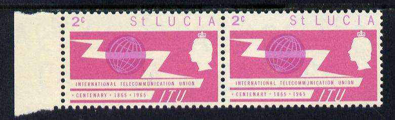 St Lucia 1965 ITU 2c horiz pair, one stamp with 'broken U' in Communications unmounted mint