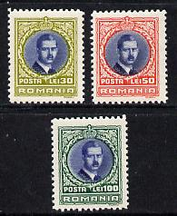 Rumania 1931 King Caril II set of 3 unmounted mint, SG 1191-93