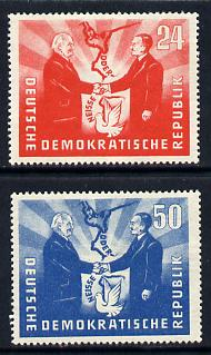 Germany - East 1951 Visit from Polish President set of 2 mounted mint (large hinge remainder), SG E41-2