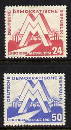 Germany - East 1951 Leipzig Spring Fair set of 2 mounted mint, SG E39-40