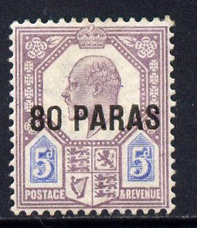 British Levant 1902-05 80pa on KE7 5d purple & ultramarine mounted mint SG 9