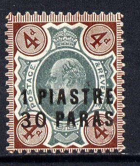 British Levant 1909 1p30 on KE7 4d green & chocolate mounted mint SG 18