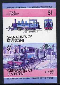 St Vincent - Grenadines 1984 Locomotives #2 (Leaders of the World) $1 Lyn (2-4-2T) imperf se-tenant proof pair printed in blue, magenta & black only (as SG 321a) unmounted mint