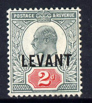 British Levant 1905-12 LEVANT opt on KE7 2d grey-green & carmine mounted mint SG L4a