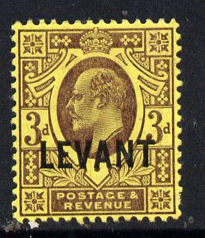British Levant 1905-12 LEVANT opt on KE7 3d purple on orange-yellow mounted mint SG L6