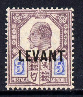 British Levant 1905-12 LEVANT opt on KE7 5d purple & ultramarine mounted mint SG L8