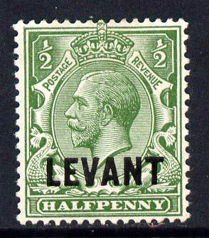 British Levant 1911-13 LEVANT opt on KG5 1/2d green mounted mint SG L16