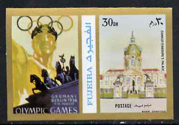 Fujeira 1972 Charlottenbourg Palace 30 Dh imperf with label from Olympics Games - People & Places set of 20 unmounted mint, Mi 1049B