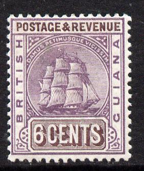 British Guiana 1889 Ship Type Crown CA 6c purple & brown mounted mint, SG 197