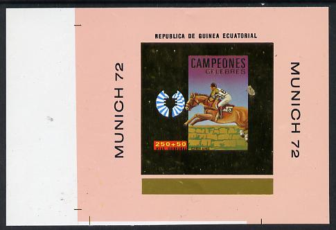 Equatorial Guinea 1972 Munich Olympics Show Jumping #1 individual imperf deluxe proof sheet in gold with pink border unmounted mint minor wrinkles