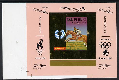 Equatorial Guinea 1972 Munich Olympics Show Jumping #1 individual imperf deluxe proof sheet in gold with pink border with overptints in margin unmounted mint minor wrinkl...