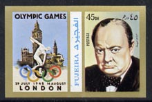 Fujeira 1972 Winston Churchill 45 Dh imperf with label (showing Houses of Parliament & Discus Thrower) from Olympics Games - People & Places set of 20 unmounted mint, Mi 1050B