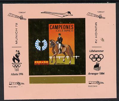 Equatorial Guinea 1972 Munich Olympics Show Jumping #4 individual imperf deluxe proof sheet in gold with pink border with overptints in margin unmounted mint minor wrinkl...