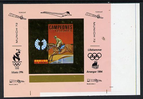 Equatorial Guinea 1972 Munich Olympics Show Jumping #5 individual imperf deluxe proof sheet in gold with pink border with overptints in margin unmounted mint minor wrinkl...
