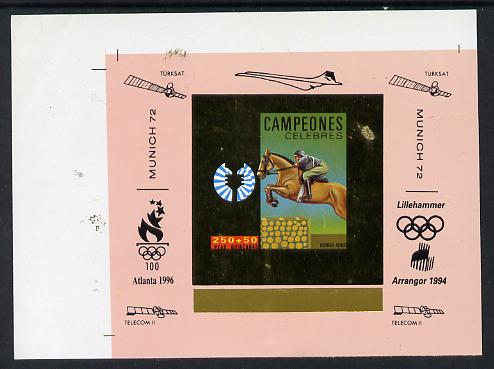 Equatorial Guinea 1972 Munich Olympics Show Jumping #6 individual imperf deluxe proof sheet in gold with pink border with overptints in margin unmounted mint minor wrinkl...