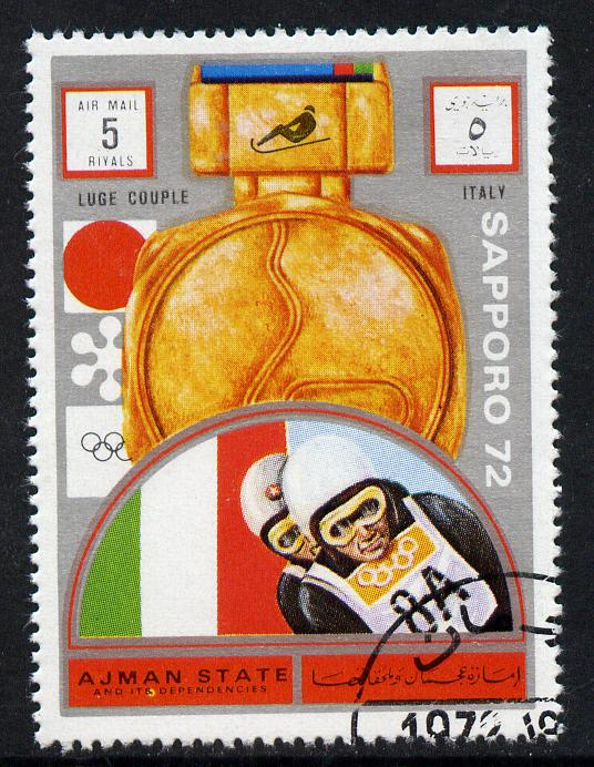 Ajman 1972 Sapporo Winter Olympic Gold Medallists - Italy Two-man Bob Sled 5r cto used Michel 1668