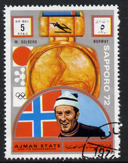 Ajman 1972 Sapporo Winter Olympic Gold Medallists - Norway Solberg Biathlon 5r cto used Michel 1635