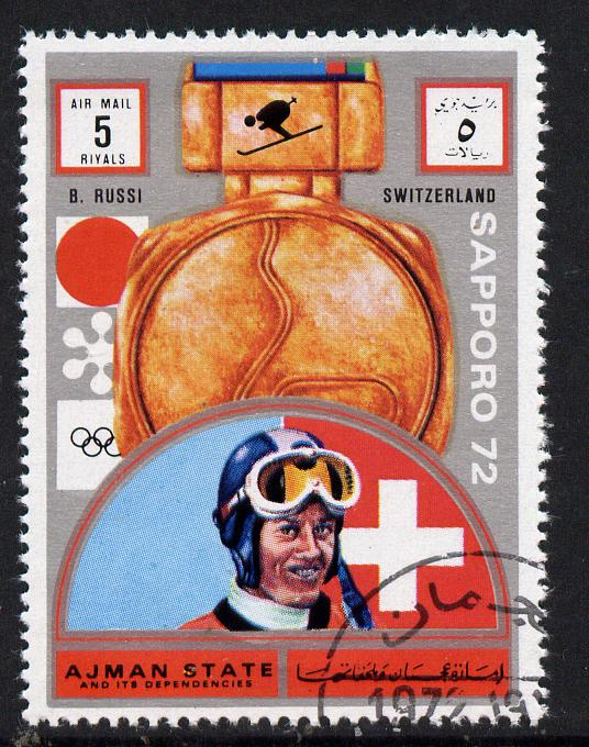 Ajman 1972 Sapporo Winter Olympic Gold Medallists - Switzerland Russi Downhill skiing 5r cto used Michel 1667