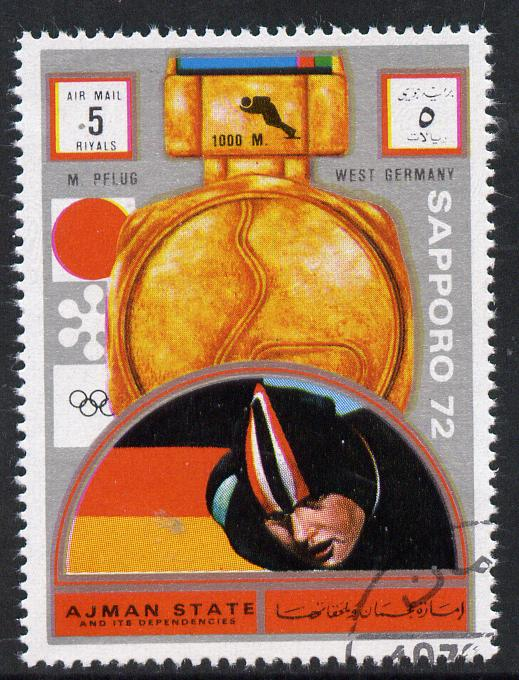 Ajman 1972 Sapporo Winter Olympic Gold Medallists - West Germany Pflug Speed Skating 5r cto used Michel 1645