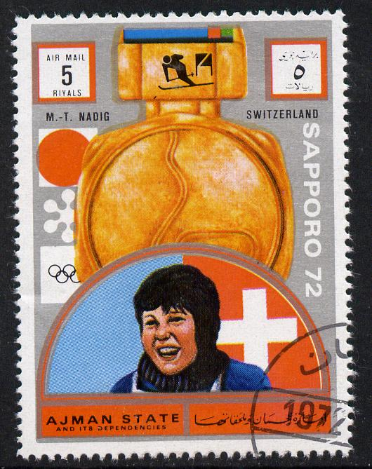Ajman 1972 Sapporo Winter Olympic Gold Medallists - Switzerland Nadig Giant Slalom 5r cto used Michel 1647